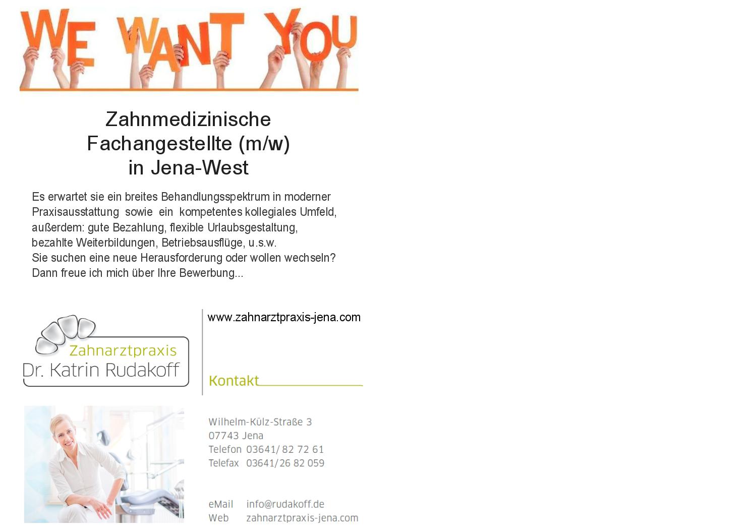 Zahnarzt ZFA in Jena gesucht